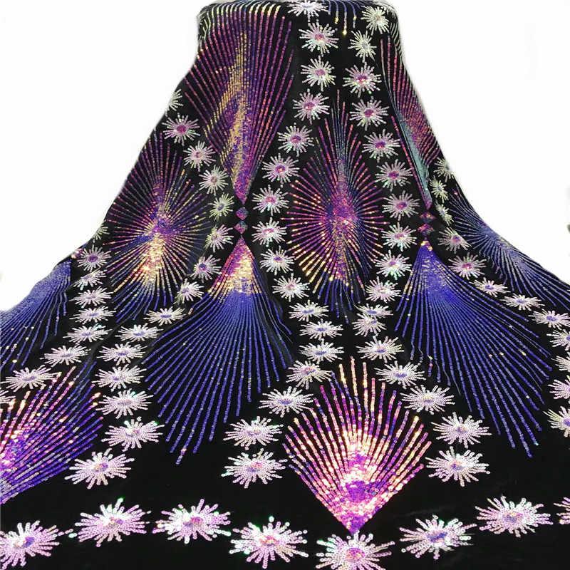 Roxo azul de alta qualidade africano lantejoulas tecido do laço francês net bordado tule tecido renda para vestido festa casamento nigeriano