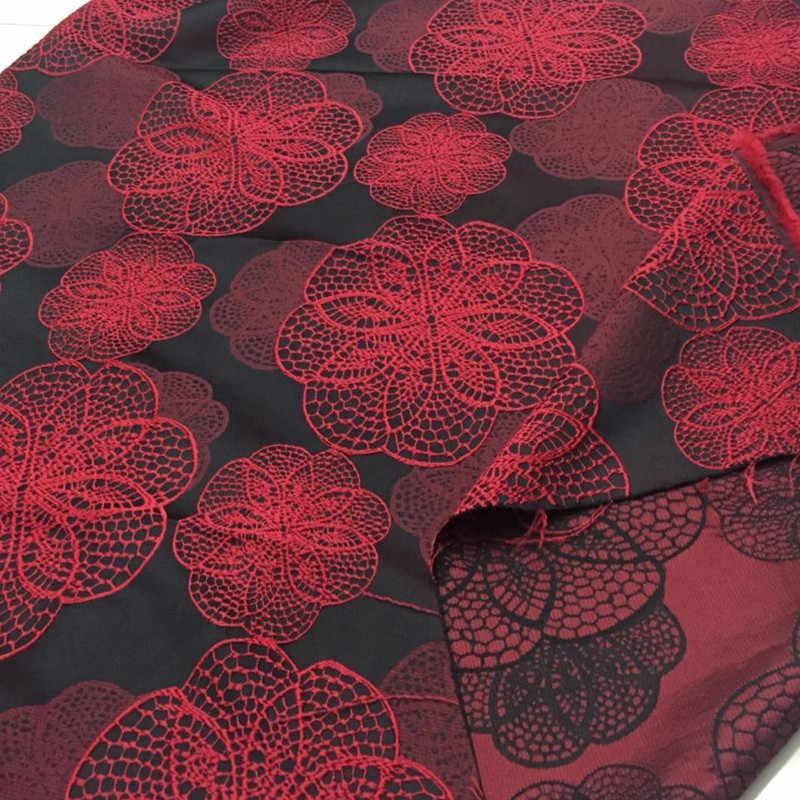 Rosso Africano Broccato Damascato Jacquard Broccato Tessuto per Il Vestito, Matrimonio Fai da Te Del Tessuto Cappotto Cucito Patchwork di Materiali Panno Rosso, 1 Yard