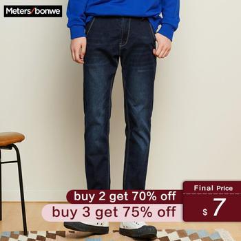 Metersbonwe مستقيم الجينز الرجال 2019 جينز غير رسمي شتاء جديد غير رسمي الشباب تصميم بسيط تريند جينز ضيق السراويل الرجال السراويل الذكور