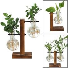 Terrarium roślina hydroponiczna wazony Vintage doniczka przezroczysty wazon drewniana rama szkło Tabletop rośliny domowe drzewko Bonsai Decor