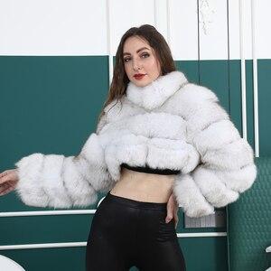 Image 2 - Natuurlijke Korte Echte Jas Voor Vrouwen Met Stand Kraag Dikke Warme Winter Echte Fox Fur Jacket Hoge Kwaliteit bont Overjassen