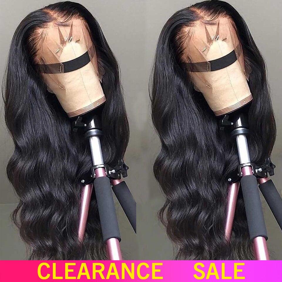 150% 180% perucas de cabelo humano frontal do laço 13x4 não remy parte livre peruca dianteira do laço da onda do corpo brasileiro com cabelo do bebê para a mulher preta