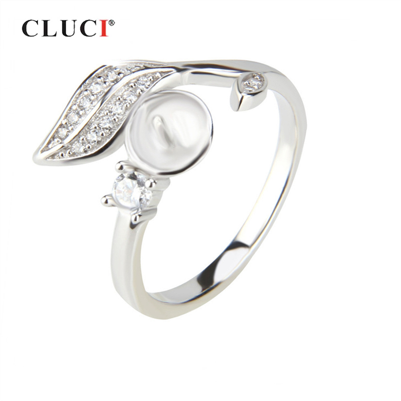 CLUCI Silver 925 Leaf Shaped Zircon Rings Jewelry Brand Pearl Ring Mounting 925 Sterling Silver Rings For Women Gift