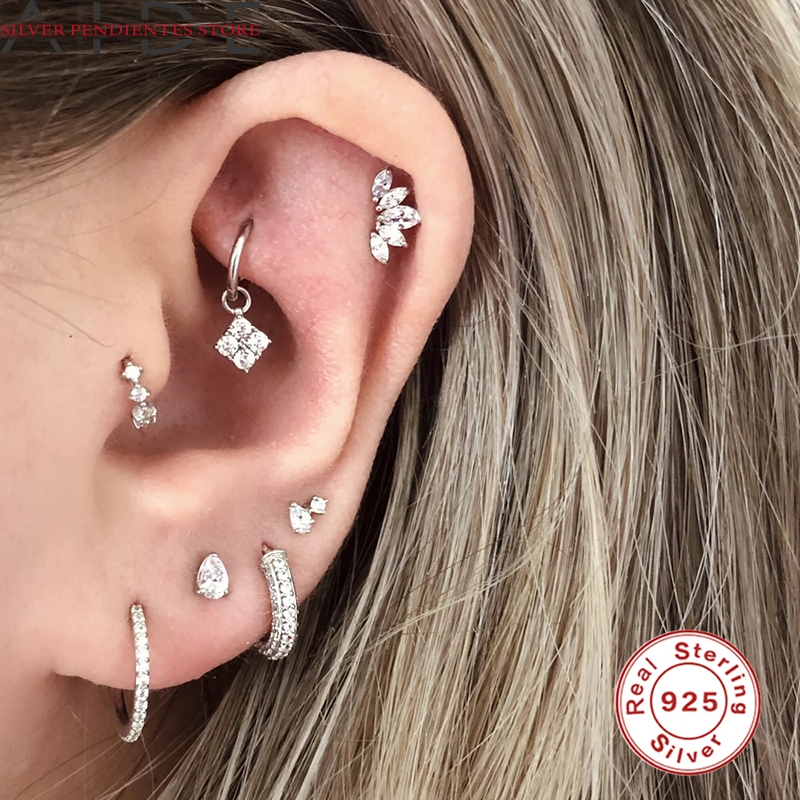 AIDE 6mm/8mm CZ Crystal Piercing Ear Tragus Cartilage Jewelry 925 Silver Nose Hoop Nose Ring 2020 Body Jewelry Wholesale-2