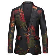 Ponadgabarytowe męskie Business Party Casual Blaaer kwiatowe nadruki Retro szwy jednorzędowe męskie kostiumy sceniczne hosta tanie tanio Pojedyncze piersi COTTON Poliester Pełna Anglia styl REGULAR Ścięty 200608WL28