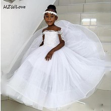 Saudi Arabic Flower Girls Dresses For Weddings Lace Appliques Off The Shoulder Kids Birthday Wear First Communion Dress Cheap gorgeous new first communion dress lace up off the shoulder appliques key hole ball gown flower girls dress for wedding
