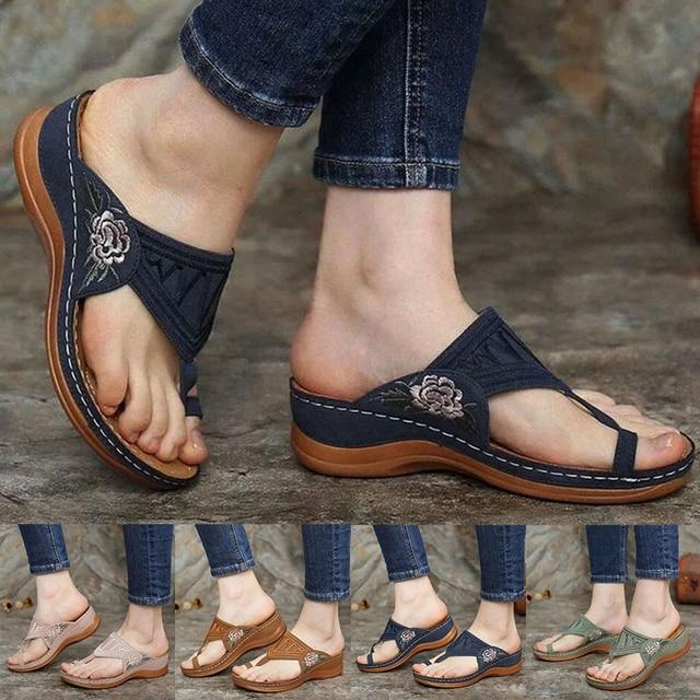 Sandales orthopédiques pour femmes, motif Floral brodé, chaussures plates à talon bas de 1-3cm, Mules confortables, tongs dété