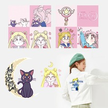 Hot Anime Sailor Moon Patch for clothing iron on patches Diy girls T-shirt Dresses thermal transfer sticker Washable Applique