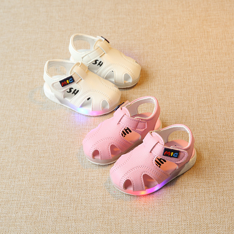 Summer Baby Sandals Beach Shoes Lights LED Non-slip Baby Shoes  Toddler Girl Shoes  Sandals For Baby Girls