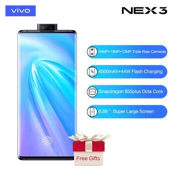 Перейти на Алиэкспресс и купить Vivo Nex3 5G Celular Snapdragon 855plus 4500mAh аккумулятор 44WFlash Charge6.89 ''Супер экран 64MP Тройная задняя камера 5G мобильного телефона