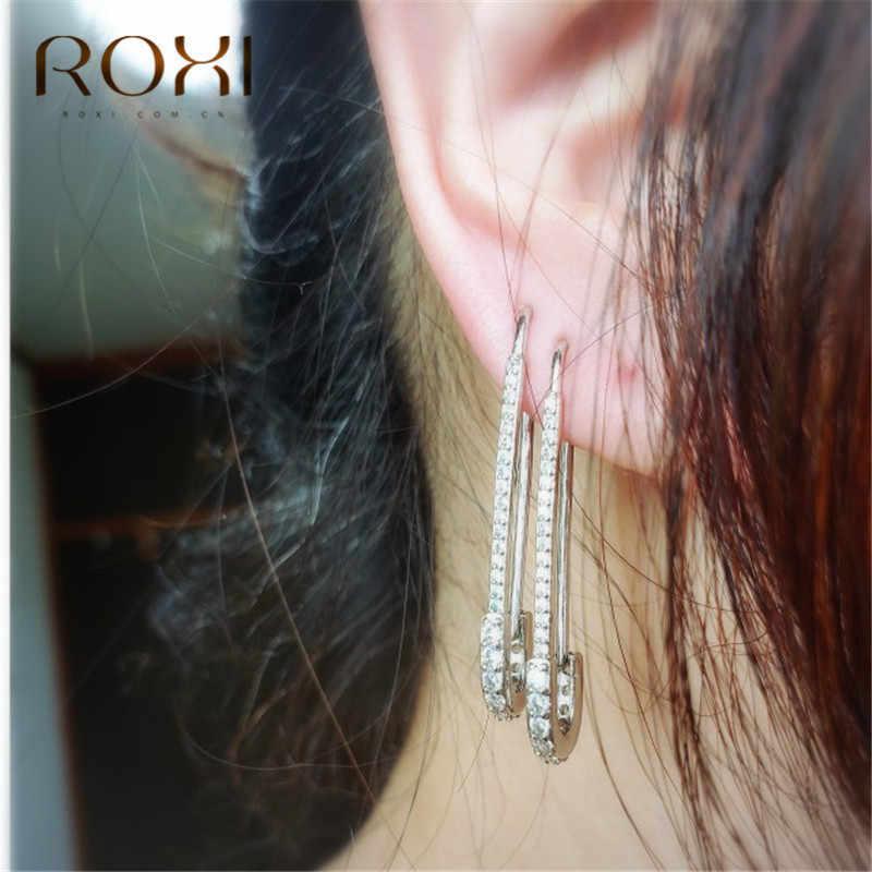 ROXI ยุโรป Punk Hip Hop ความปลอดภัย PIN STUD หูต่างหู Threader แฟชั่นเครื่องประดับประณีต Zircon ต่างหูเกาหลี oorbellen