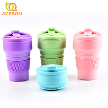 350ml Folding Silicone 4 color Portable Telescopic Drinking Collapsible coffee cup folding silica with Lids Travel