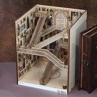 Wooden Book Nook Inserts Art Bookends DIY Bookshelf Decor Stand Decoration Fairy Garden Miniatures Home Decoration Accessories