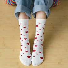 Heart Printing Women Socks Cute Midi Female Autumn Winter Stockings Harajuku Cotton Sock Woman Korean Style