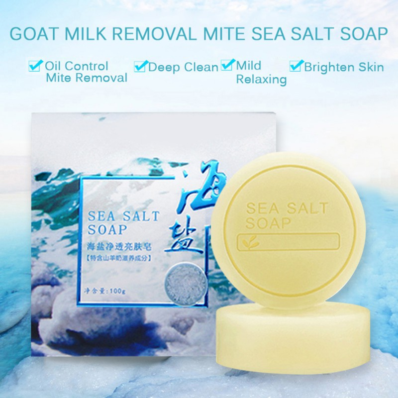 1PC Removal Pimple Pore Acne Treatment Sea Salt Soap Cleaner Moisturizing Goat Milk Soap Face Care Wash Basis Soap