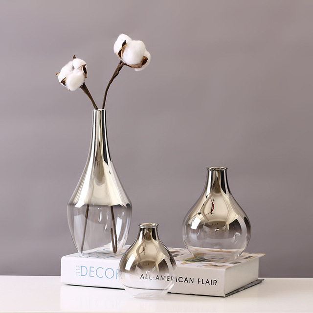 Nordic Glass Vase Silver Gradient Dried Nordic Flower Vase Decoration Home Decoration Plants Pots Furnishing Christmas Gift 3