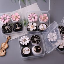 2pairs DIY Pearls Flower Contact Lens Case With Mirror Women Girls Contact Lenses Box Eyes Contact Lens Container Travel Kit Box(China)