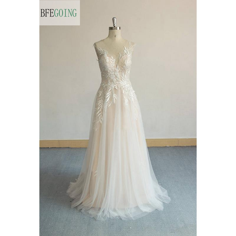 Ivory Lace Tulle V-Neck Sleeveless Floor-length A-line Wedding Gown Bridal Dress Sweep /Brush Train Custom Made