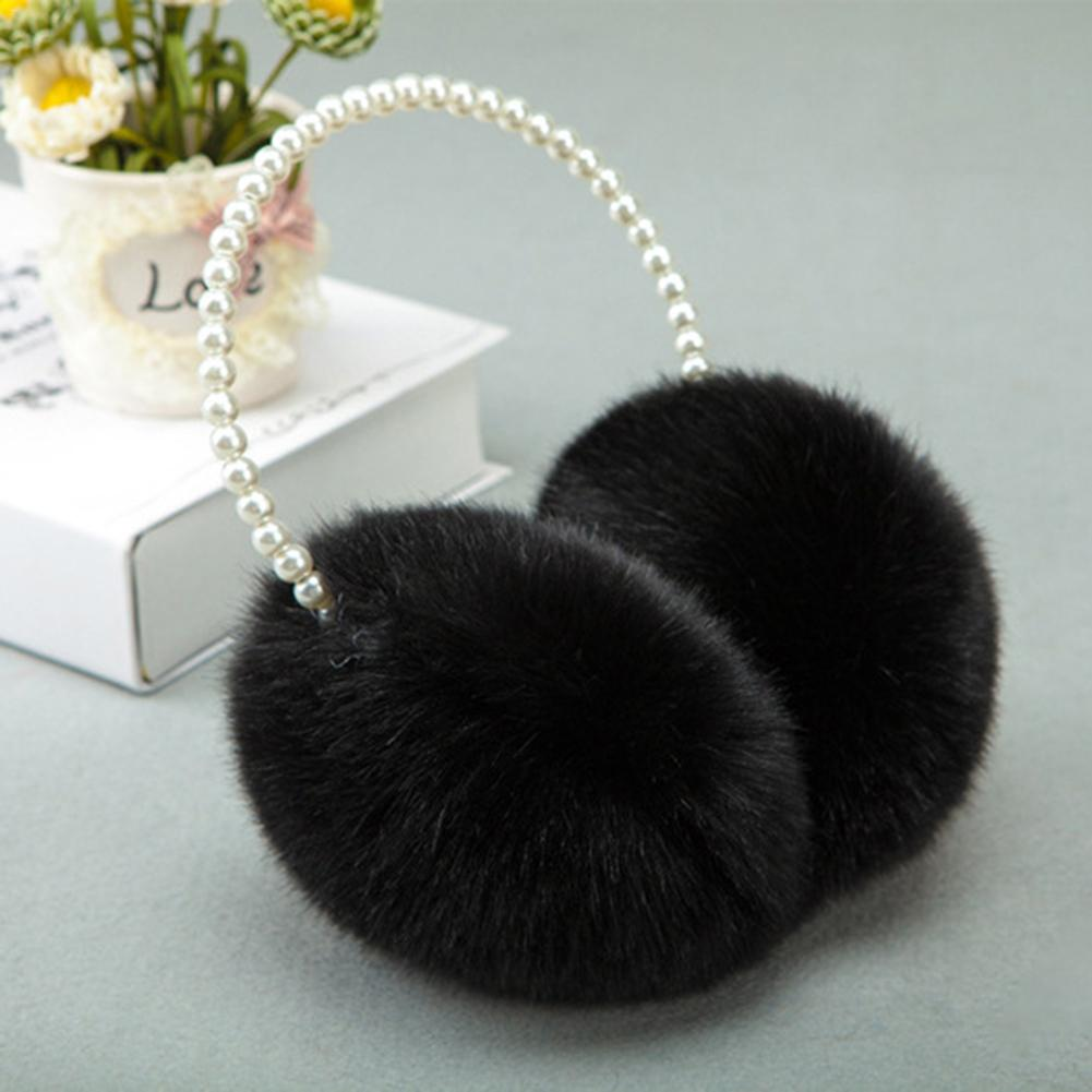 New Cute Pearl Winter Earmuffs Women Fur Earmuff Ear Warmers Girls Imitation Rabbit Plush Warm Ear Muff Hair Accessories