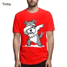 Unisex Dabbing Schnauzer Funny T-shirt Male Leisure Custom For Boy Graphic Short Sleeve