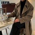 IEFB männer kleidung Koreanische trend windjacke mid lange lose kleidung hübsche männliche frühling der frauen beiläufige trenchcoat mit gürtel neue 4312