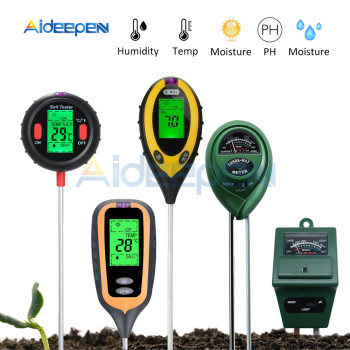 цена на 3/4/5 in 1 Soil Ph Meter Tester PH Moisture Meter Temperature Humidity Sunlight Intensity Measurement Analysis Acidity Alkali
