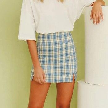 Jocoo Jolee Women Fashion Cotton Plaid Bodycon Skirt Spring Europe Style Split Elegant Chic Skirts High Waist Wild Bottom 5