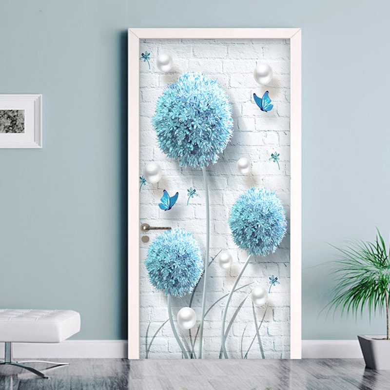 Self Adhesive 3D Door Stickers Home Decor Blue Dandelion Picture Photo Living Room Door Mural PVC Waterproof Art Wall Decals 3D