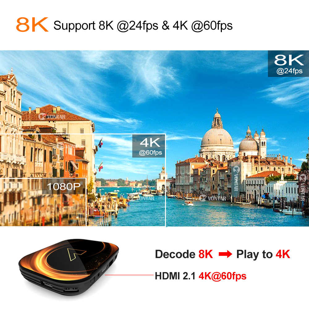 VONTAR X3 8K 4GB 128GB TV Box Android 9.0 Amlogic S905X3 TVBox 32GB 64GB 1000M double Wifi 4K 60fps Netflix Youtube lecteur multimédia