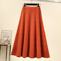 4xl good quality plus big size vintage women 2020 spring autumn winter korean knit long umbrella skirts pure color female A5433