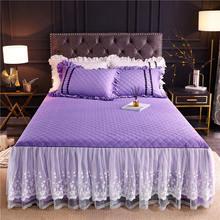 Корейские стеганые двухслойные покрывала из 100% хлопка фиолетовые