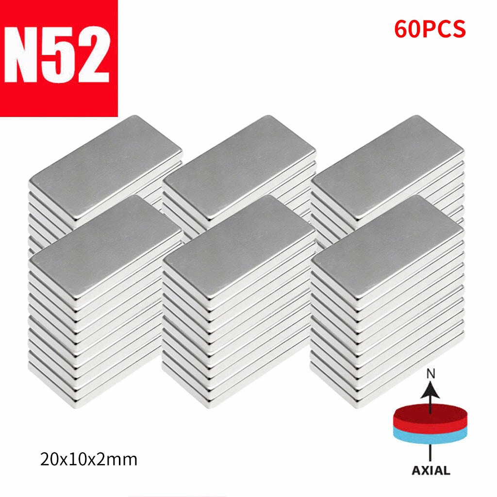 Neodymium Magnet Block 20mm X 10mm X 2 N52 Earth Magnets Block Super Powerful Strong Permanent Magnetic Imanes Disc D#
