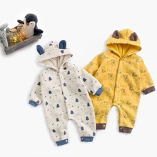 Baby Onesie Autumn And Winter Male Baby Clothes Fleece Animal Printed Crawling Clothes INS Lion Thick Romper Baby
