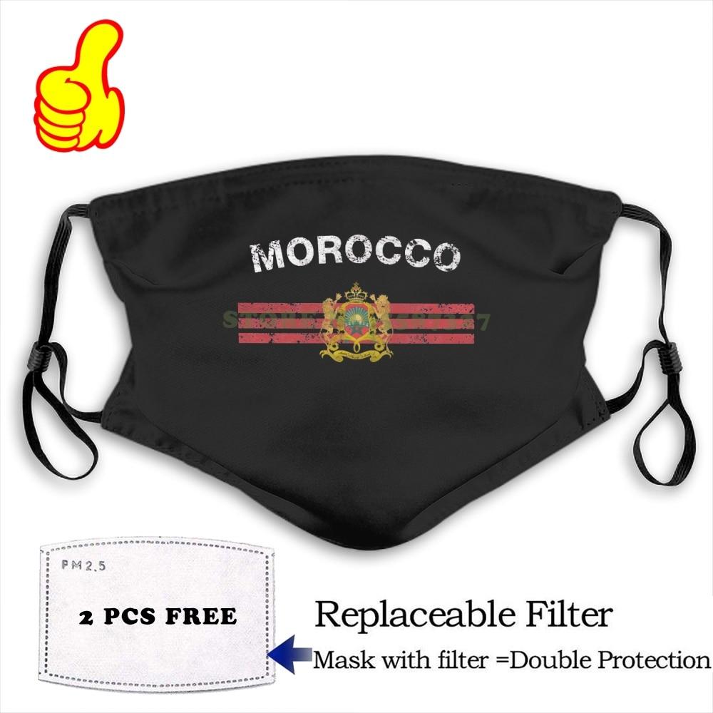 Face Mask Moroccan Flag - Moroccan Emblem & Morocco Flag  Fashion Funny Design Black Reusable Protective Masks