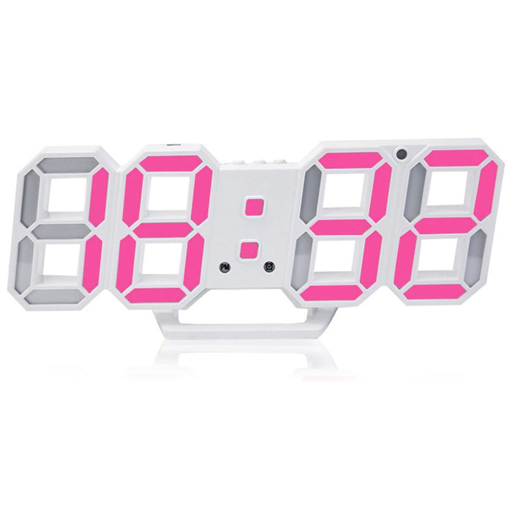 Modern Desk Digital Clock Alarm Decoration Wall Electronic Led 3D Night Light Home Display image