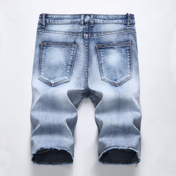 Europe Fashion Summer Denim Trousers Mens Streetwear Straight Casual Pleated Zipper Shorts Washed Knee Length Jeans Plus Size 42 1