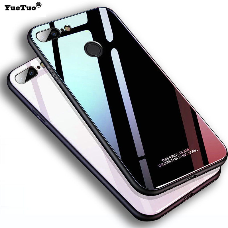 YueTuo luxury hard mirror glass case for oppo A83 A59 A73 A3 A37 A5 A3S A7 A5S A7X A9 A9X A1K K3 K1 silicone 3d back phone cover image