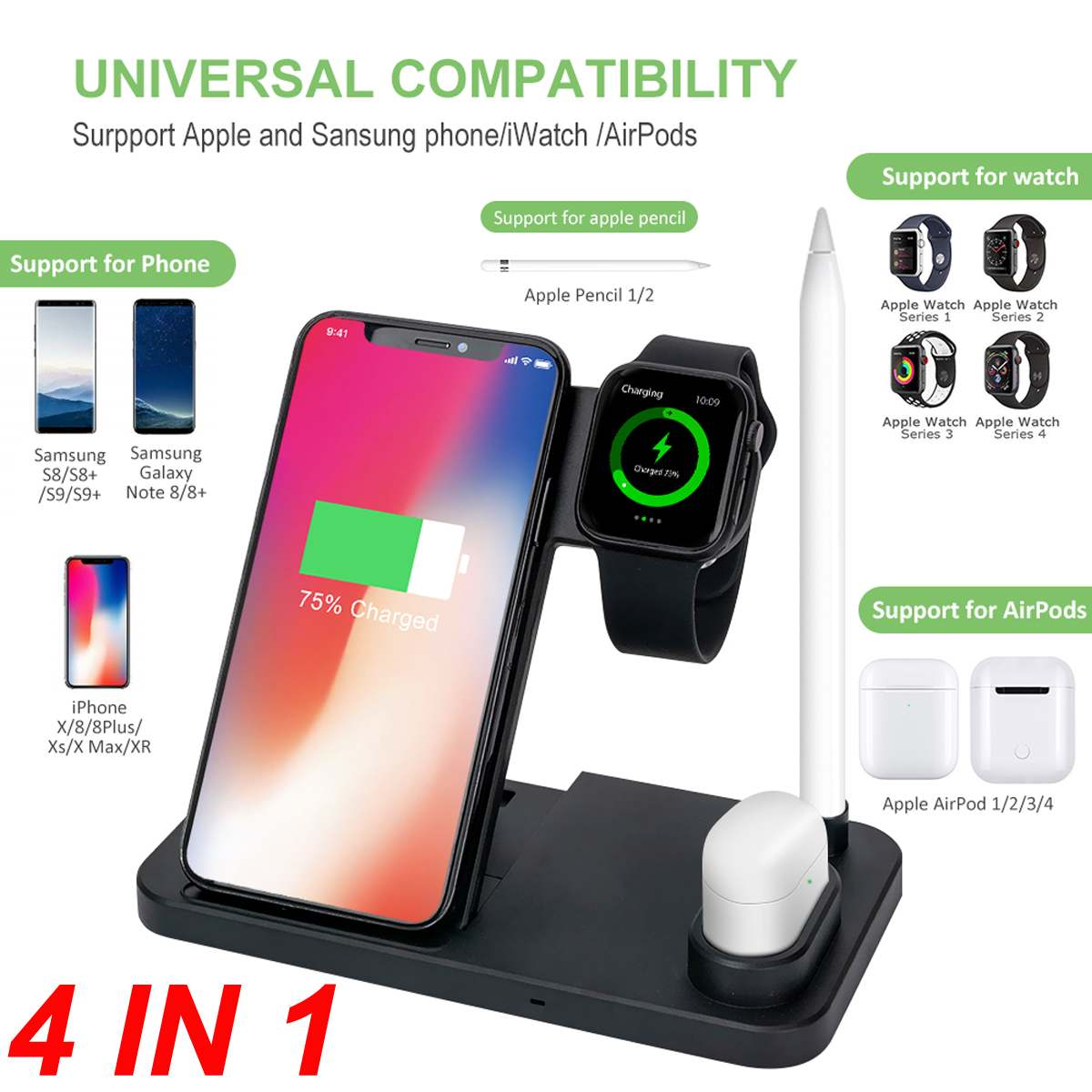 US $21.41 38% OFF|4in1 Wireless Charger Dock Station Pad 7.5W10W Fast Qi Wireless Charger Stand for Apple Watch Pen for iphone XRXS For