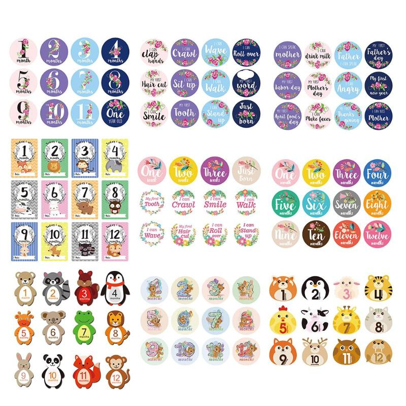 12pcs/Set Baby Photo Milestone Card Newborn Monthly Commemorative Stickers