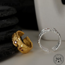 LouLeur Design 925 Sterling Silver Ring 18K Gold Texture Rings Adjustable For Women Luxury Ring 2021 Trend Silver 925 Jewelry