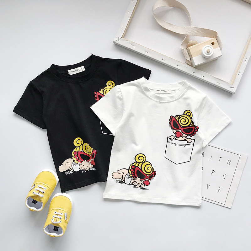 Kids Summer T Shirt For Boys Japanese Style Girls Cartoon Top CHILDREN Short Sleeve Tee Bebe Boys Troddler Clothes 2-7yrs