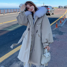 Winter Jacket Parka Overcoat Hooded Streetwear Warm Thicken Long Casual Fur Women Loose