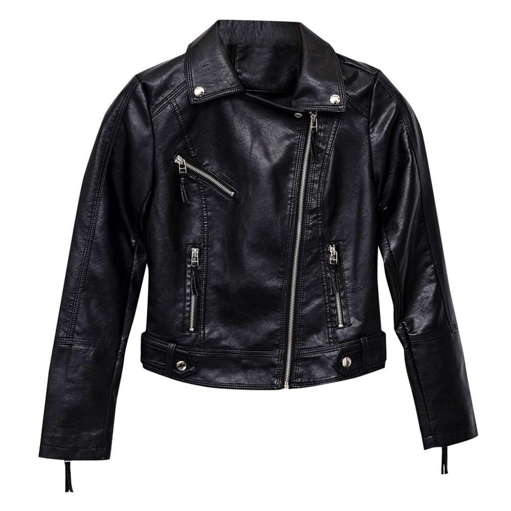 Women Winter Long Sleeve Solid Zipper Jackets Overcoat Black Short Outwear Coat Streetwear Faux   Leather   Coat For Ladies 2019