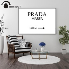 Allenjoy Pictures with Phrase PRADA MARFA Quotes Living Room Canvas Paintings Minimalist Black and White Poster Wall Decoration