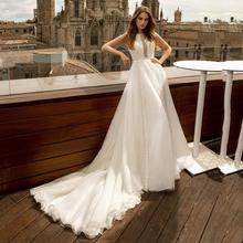 Wedding-Dresses Tulle Court-Train Appliques Lace Sleeveless O-Neck Thinyfull A-Line
