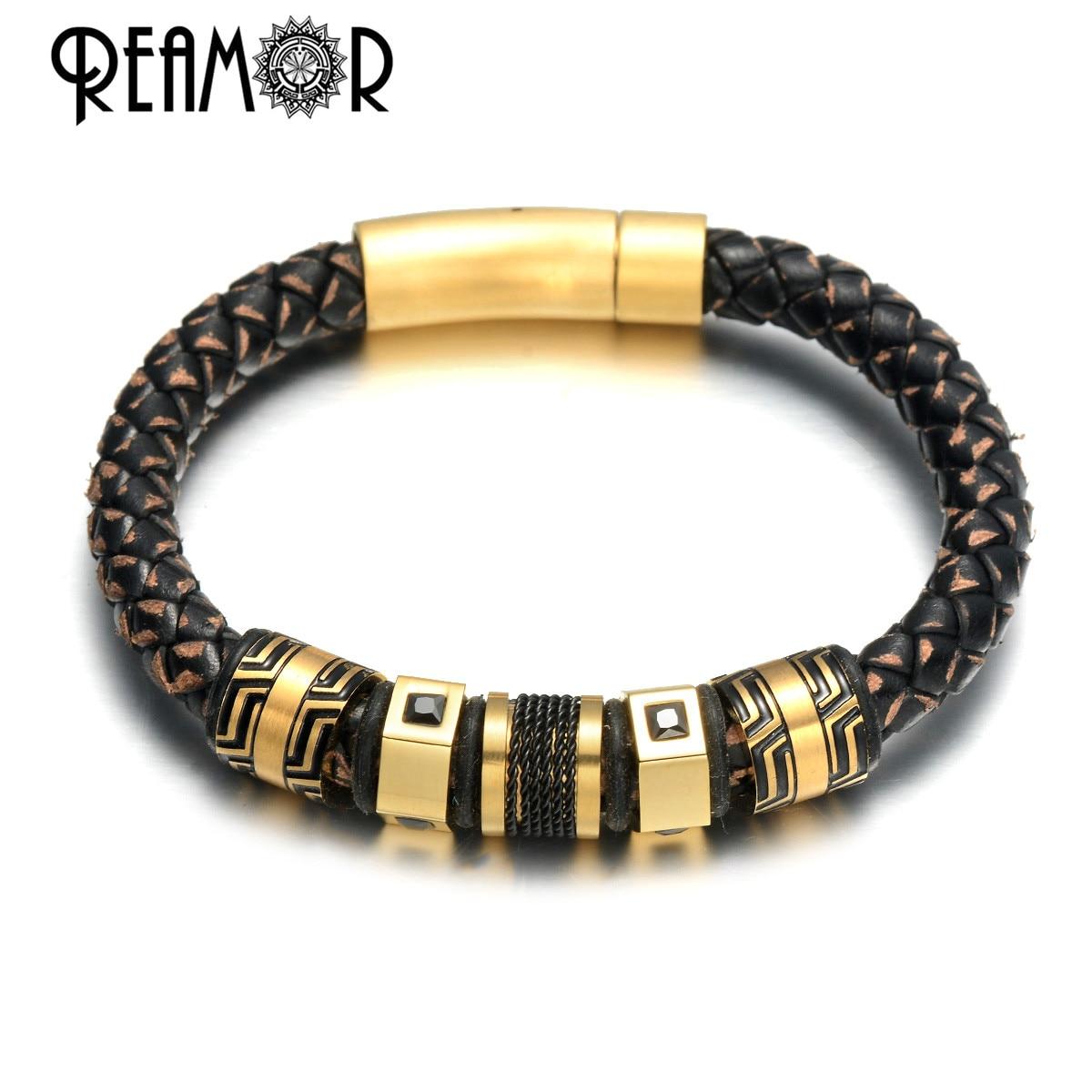 REAMOR Luxury Stainless Steel Black Zircon Gold Beads Charm Bracelets For Men Handmade Genuine Leather Braided Bangle Jewelry