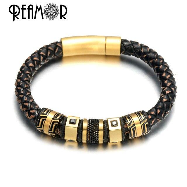 Мужские браслеты с черными цирконами REAMOR, Роскошные браслеты из нержавеющей стали с золотыми бусинами, плетеный браслет ручной работы из натуральной кожи, ювелирные изделия