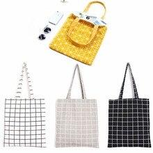 1 шт. женская льняная эко многоразовая сумка для покупок с короткими ручками модная клетчатая сумка на плечо повседневное использование Складная простая повседневная сумка