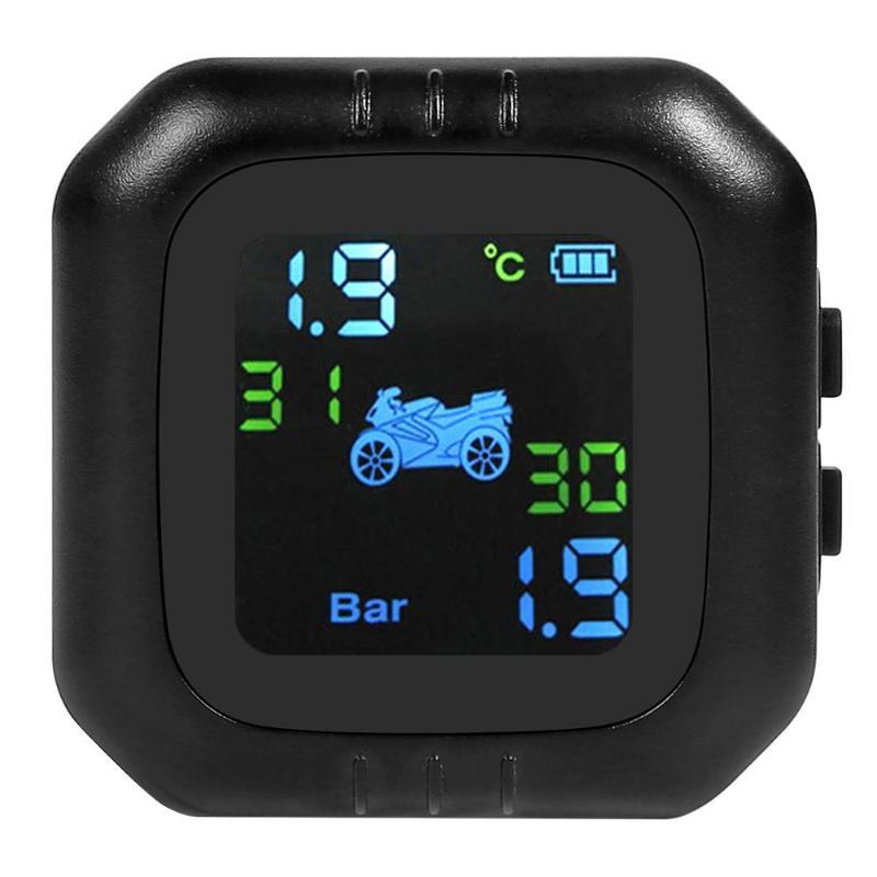 Motorcycle TPMS Tire Pressure Monitoring System Wireless LCD Display Moto Real Time Tyre Pressure Meter Gauge W/ External Sensor