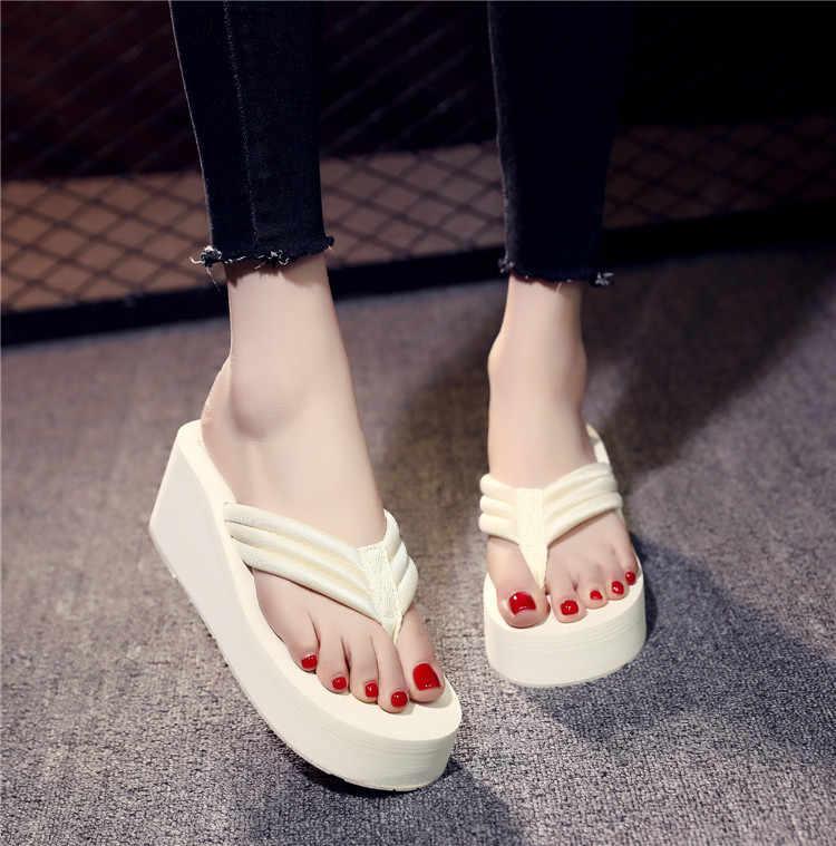 Kadın erkek flanş kayış Flip flop serin terlik kaymaz yüksek topuk plaj ayakkabısı büyük boy manuel Diy katı renk eva kama terlik